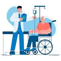 A doctor caring for an elderly person flat illustration vector