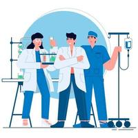 Medical doctors and nurses flat illustration vector