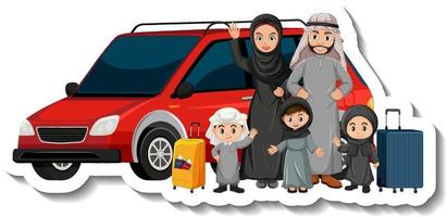 Muslim family standing in front of a car vector