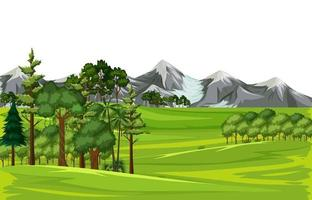 Blank meadow landscape scene with many trees and mountain background vector