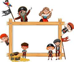Empty wooden frame with many pirate kids cartoon character vector