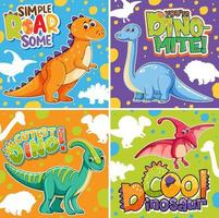 Set of different cute dinosaur posters with speech font vector