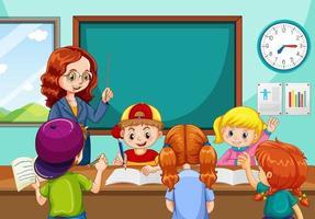 profesor enseñando a los estudiantes en la escena del aula vector