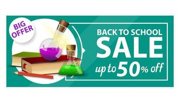 Back to school, discount web banner with books and chemical flasks vector