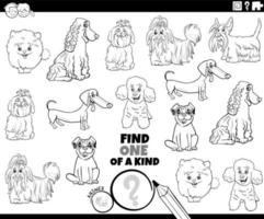 one of a kind game with dog breeds coloring book page vector
