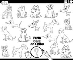 one of a kind task with dog breeds coloring book page vector