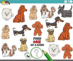 one of a kind game for children with cartoon purebred dogs vector