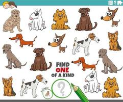 one of a kind task for children with cartoon purebred dogs vector