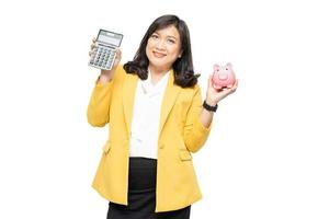 Business asian lady people holding calculator and piggy bank photo