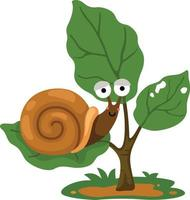 illustration of snail on tree white background vector