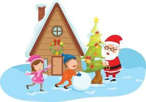 illustration of santa claus happy new year and merry christmas.vector vector