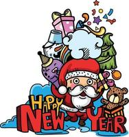 Hand drawn santa claus happy new year and merry christmas vector