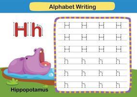 Alphabet Letter exercise H-Hippopotamus with cartoon vocabulary vector