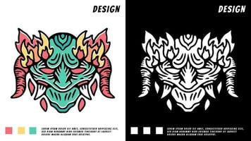 green devil head with fire, illustration for t-shirt vector