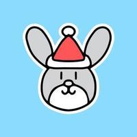 kawaii bunny with Santa hat sticker. vector illustration.
