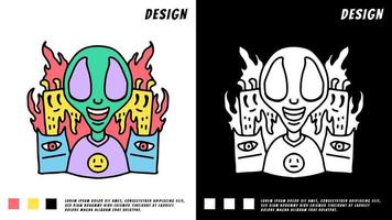 doodle cartoon alien and monsters, illustration for t-shirt vector