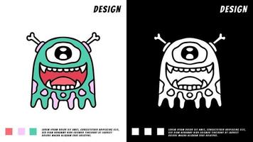 funny monster one eye, design for sticker or t shirt vector