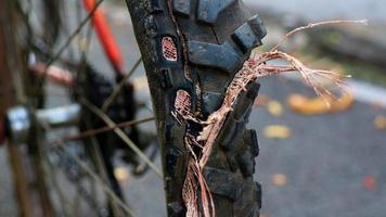 Close up on leak of bicycle's tire photo