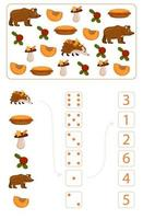 Worksheet for studying mathematics and numeracy on the topic of autumn vector