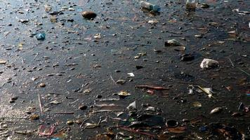 Water pollution environmental with trash photo