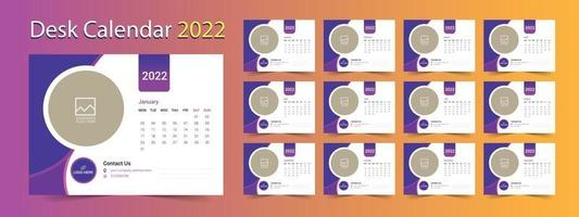 Desk Calendar 2022, 12 months calendar template vector