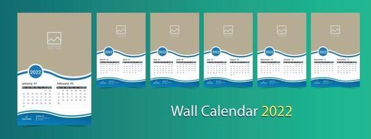 Wall calendar 2022, 12 months calendar template vector