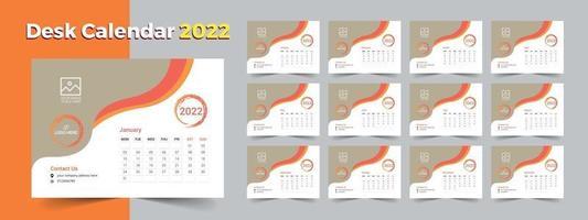 Creative desk calendar 2022, layout desk calendar template vector