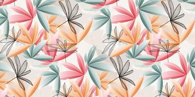 Abstract art pattern tropical leaves background vector