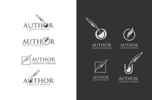 Set Of Author Write Logo. Quill feather pen and ink well logo vector