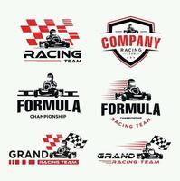 Set of Karting race symbol logo emblem template. drive kart in helmet vector
