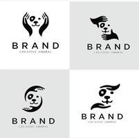 Set Of Dog Hand Logo Stock Illustrations. Pet care logo icon symbols vector