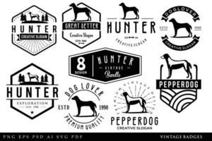 Set Of Dog Vintage Logo silhuette retro black illustration hipster vector