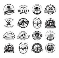 Set of Craft Beer and Winery Logo Company badge, sign, label. Retro vector