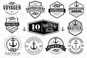 Set Of Nautical Logo Anchor Badges And Label Clipart retro hipsters vector