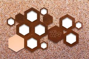 The metal molecule icon sign on stone wall background with shadow photo