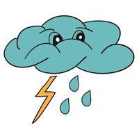 Blue rain, raindrops vector