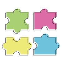 Colored puzzle piece vector