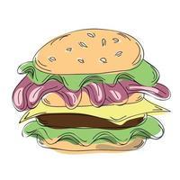 Burger and cheeseburger fast food vector