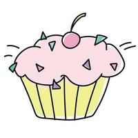 Colored sweet cupcakes doodle style vector