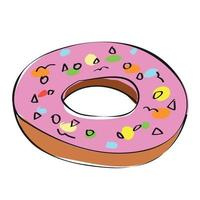 Sweets, pink sweet donut in doodle style vector