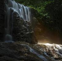 Tropical rainforest waterfall long explosion photo