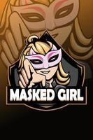 Masked girl logo e sport illustration vector