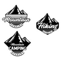 Set of Mountain biking and camping club badge. Vector