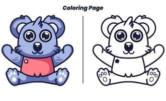 cute baby koala with coloring pages vector