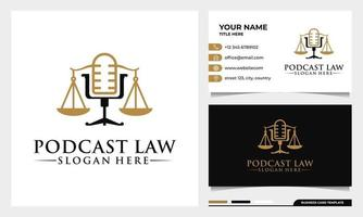 attorney and law justice Podcast mic logo with business card template vector