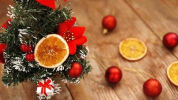 Christmas decoration against wooden blurred background photo