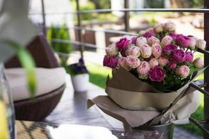 Blurred background - bouquet of rose flower photo