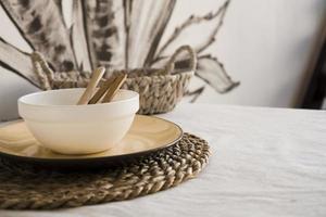 Natural crockery tableware. Dishes neutral tones, scandinavian style photo