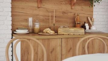Wooden interior of modern kitchen. Scandinavian style, rustic style. photo