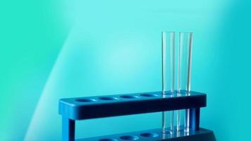 Tubos de ensayo sobre un soporte azul contra el fondo azul. foto
